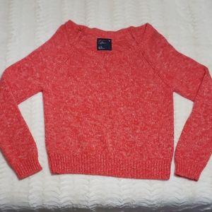 American Eagle red & white cropped raglan sweater